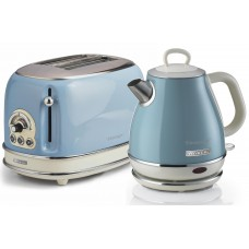 Ariete Vintage Compact 155 + 2868 2 Slice Toaster & ONE Litre Kettle Twin Pack LIGHT BLUE