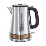 Russell Hobbs Luna 24280 + 24310 Quiet Boil 1.7 Litres Kettle & Long Single Slot  Toaster Twin Set Copper