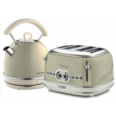Ariete Vintage 2877 + 156 Dome Shaped 1.7 Litre Kettle & 4 Slice Toaster Twin Pack Beige
