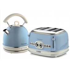 Ariete Vintage 2877 + 156 Dome Shaped 1.7 Litre Kettle & 4 Slice Toaster Twin Pack Light Blue