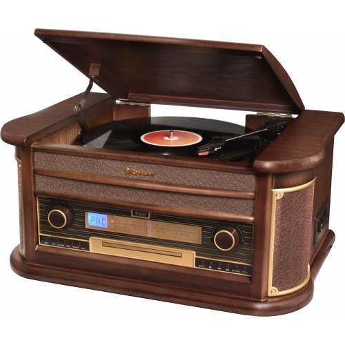Roadstar HIF-1896TUMPK  Wood Retro Style FM-Radio with Turntable, Cassette, CD Player, Direct Encoding and Aux In.  Music Centre