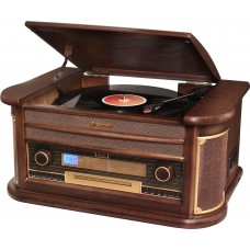 Roadstar HIF-1996BT Wood Retro FM-Radio,Turntable, Cassette, CD Player, Bluetooth, Music Centre