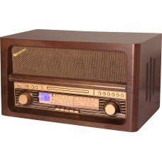 Roadstar HRA-1540UE/BT Vintage Retro  Home AM/FM Wooden Radio with MP3 CD Player