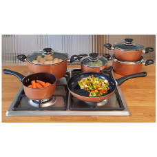 IN-HOME Supertherm Black Ceramic Copper Style Pots Pans 10 Piece set Induction