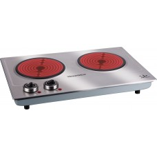 Jata V532 Vitroceramic Glass Stainless Steel Surround Twin Electric Hotplate, 2400 W