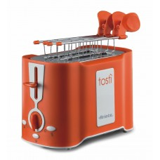 Ariete 124 O Tosti 2 Slice Toaster with Stainless Steel Tongs Orange 500 W
