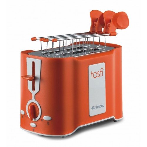 Ariete 124 O Tosti 2 Slice Toaster with Stainless Steel Tongs Orange 500 W